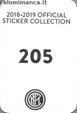 Inter sticker collection 2018 - 2019: Card Back n. 205 -