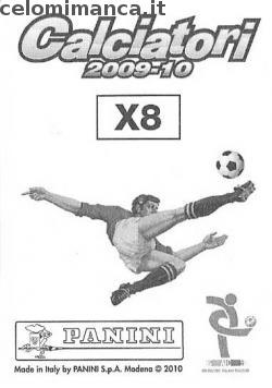 Calciatori 2009 - 2010: Card Back n. X8 Andrea Cossu