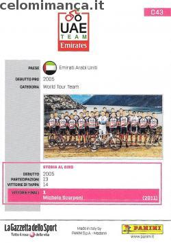 GIRO D'ITALIA 101: Retro Figurina n. C43 UAE Team Emirates
