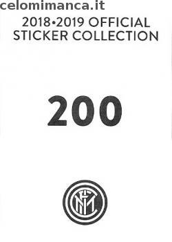 Inter sticker collection 2018 - 2019: Card Back n. 200 -