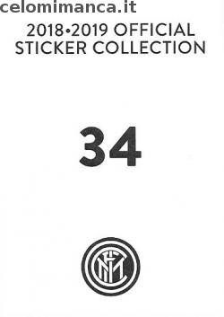 Inter sticker collection 2018 - 2019: Card Back n. 34 Antonio Candreva