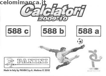 Calciatori 2009 - 2010: Card Back n. 588 Claudio Grauso - Davide Carrus - Emiliano Tarana