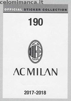 Milan Official Sticker Collection 2017/2018: Retro Figurina n. 190 7 Supercoppe Italiane