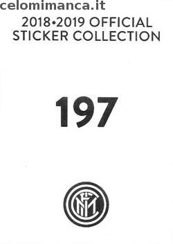 Inter sticker collection 2018 - 2019: Card Back n. 197 -