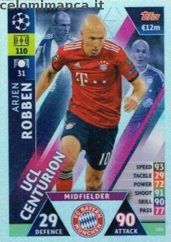 Match Attax UEFA Champions League 2018-2019 Road to Madrid 19: Card Front n. 153 Arjen Robben