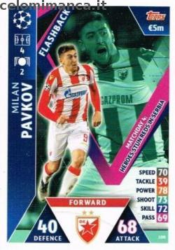 Match Attax UEFA Champions League 2018-2019 Road to Madrid 19: Card Front n. 100 Milan Pavkov