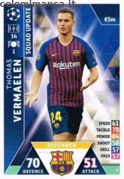 Match Attax UEFA Champions League 2018-2019 Road to Madrid 19: Card Front n. 8 Thomas Vermaelen