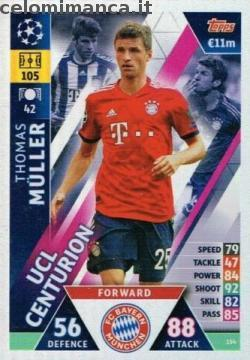 Match Attax UEFA Champions League 2018-2019 Road to Madrid 19: Card Front n. 154 Thomas Müller