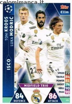 Match Attax UEFA Champions League 2018-2019 Road to Madrid 19: Card Front n. 124 Isco / Luka Modrić / Toni Kroos