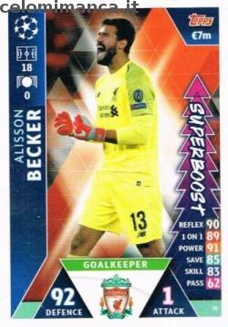 Match Attax UEFA Champions League 2018-2019 Road to Madrid 19: Card Front n. 70 Alisson Becker