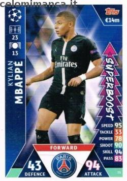 Match Attax UEFA Champions League 2018-2019 Road to Madrid 19: Card Front n. 73 Kylian Mbappé