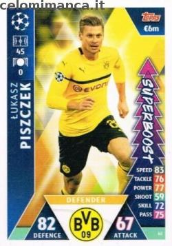 Match Attax UEFA Champions League 2018-2019 Road to Madrid 19: Card Front n. 62 Łukasz Piszczek