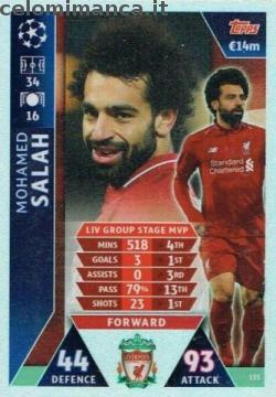 Match Attax UEFA Champions League 2018-2019 Road to Madrid 19: Card Front n. 135 Mohamed Salah