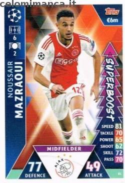 Match Attax UEFA Champions League 2018-2019 Road to Madrid 19: Card Front n. 81 Noussair Mazraoui