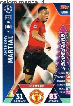 Match Attax UEFA Champions League 2018-2019 Road to Madrid 19: Card Front n. 93 Anthony Martial