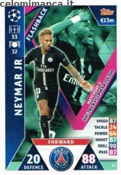 Match Attax UEFA Champions League 2018-2019 Road to Madrid 19: Card Front n. 97 Neymar Jr